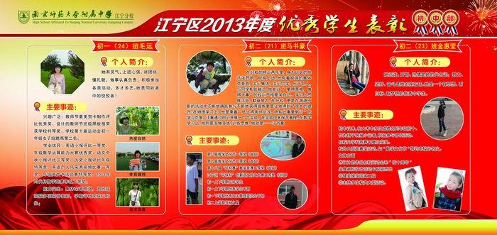我校江宁区2013年度中小学优秀学生事迹